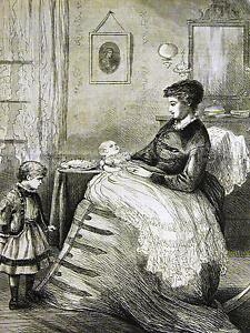 Eytinge, Jr. JEALOUS of the NEW BABY  1873 Antique CHILDREN Engraving Art Matted