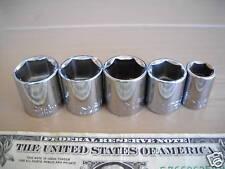 "5 CRAFTSMAN USA 3/8 DRIVE 6PT CHROME SOCKETS 7/16""-3/4"""