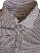 PAL Zileri Camisa Mens 15 S Blanco-Rayas Negras