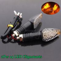 2x Clignotant 14 LED MOTO 12V Ambre orange eclairage Feux Signal Lampe Ampoule