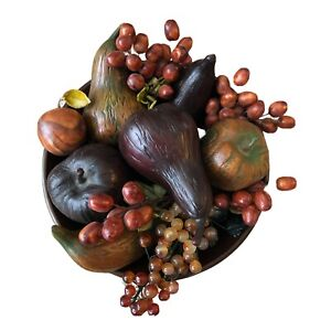 Vintage Mid Century Wooden Bowl W/ Fruit 15 Piece Resin/Plastic (?) Brown Tones