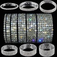 Bracelet Wristband Rhinestone Crystal Stretch Bangle Elastic Wedding Bridal U87