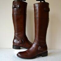 JONES THE BOOTMAKER PALOMINA DK.BROWN LEATHER KNEE HIGH BOOTS UK 4 SLIM RRP £160