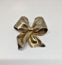 Large and Heavy Vintage 3D Solid Sterling Silver Puffed Textured Bow Brooch Pin