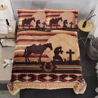 QUEEN Blanket 3PC Set Sherpa Borrego Fleece Southwest Praying Cowboy Horse New