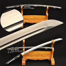 Damascus Folded Steel Samurai Sword Japanese Wakizashi Iron Tsuba Leather Ito
