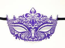 Purple Metal Woman Venetian Filigree Masquerade  laser Cut Mask w/Rhinestones