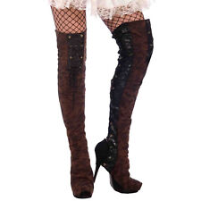 Forum Novelties Woman's Steampunk Thigh High Boot Tops - One Size, Black/Brown