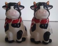 Christmas Salt and Pepper Shakers Cow Vintage Holiday Decor