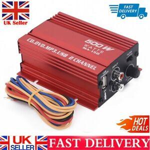 Car 12V 500W 2 Channel Mini Hi-Fi Stereo Audio Amplifier Amp Subwoofer DC 9/14V