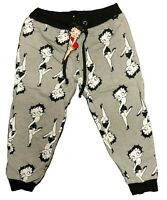 Betty Boop Women's Sweatpants Joggers Grey Black White Size S-XL