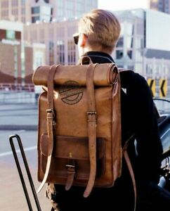 Real Leather Rolling Back Pack Rucksack Travel Genuine unisex school office Bag