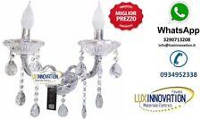 Vetro Applique Classico con Cristalli 2 luci e14 Lampada parete Camera Salotto