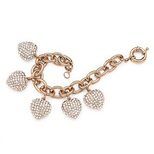 PalmBeach Jewelry Crystal Encrusted Heart Charm Bracelet in Rose Gold-Plated