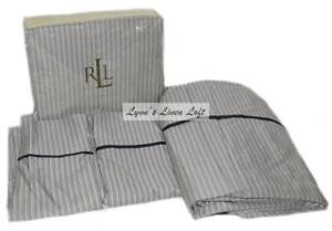RALPH LAUREN Poet's Society Stripe KING SHEET SET NEW ~450 TC COTTON SATEEN RARE