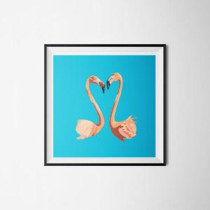 Flamingo Love Birds Digital Illustration Wall Art Print Picture - Valentine Gift