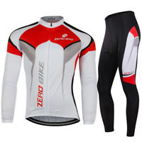 Mens Bike Bicycle Outdoor Riding Long Sleeve Cycling Jersey Suits Tights Pants