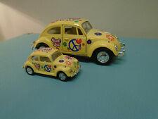 KinsMart Volkswagon Beetle 1/64 & 1/32 Scale Yellow / peace Love