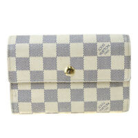 Authentic LOUIS VUITTON Tresor Trifold Wallet Purse Damier Azur N63068 60SA342