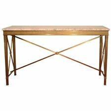American Art Deco Brass and Marble Console Table, circa 1920s