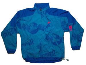 Vintage 90s Nike International Full Zip Windbreaker Jacket Map Globe Men's Large