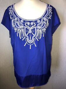 PER UNA SPEZIALE Ladies Size 16 Blue Short Sleeved Top Embellished Pearls VGC