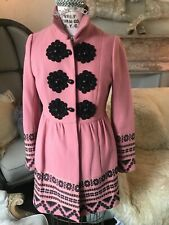 New Anthropologie Elimovna Coat Plenty by Tracy Reese Pink 2 XS Wool