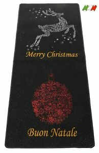 Tappeto natalizio resinato bordato MERRY CHRISTMAS E BUON NATALE