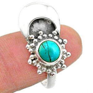 925 Silver 2.69cts Solitaire Blue Arizona Mohave Turquoise Ring Size 7 T25105