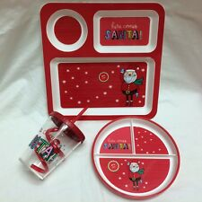 Set/3 Kids Santa Christmas Divided Tray, Snack Plate,Sippy Cup Holiday PBA free