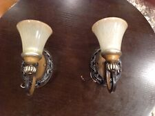 Two (x2) Light Wall Sconces Fixtures Hardwired used