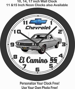 "1969 CHEVROLET EL CAMINO SS ""SILVER"" WALL CLOCK-FREE USA SHIP-NEW!"