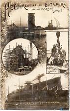FOTOGRAFÍA POSTAL 1914 BOTADURA ACORAZADO JAIME I CIRCULADA 138x87mm
