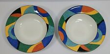 """Set of 2 Victoria and Beale Casual Accents Rimmed Soup Bowl 8 3/4"""" # 9019"""