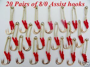 40 Assist Hooks Size 8/0 Gold Finish For Knife Vertical Jigs -10 Packs 20 Pairs