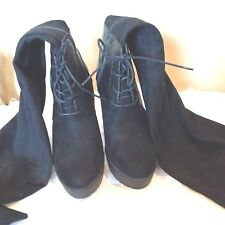 Dana Buchman  New Solid Black Leather Wedge Boot SIze 7.5M