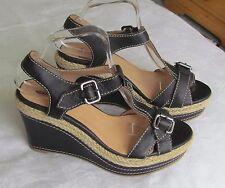 Jones The Bootmaker Ladies Black Leather Wedge Sandals Size 7.5 EU 41