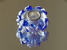 PRETTY CORNFLOWER - Murano Glass Silver Plated Core Charm Bead
