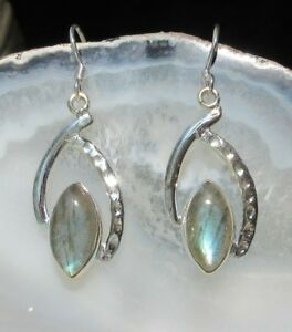 Rx Earring Sterling Silver 925 Spitz-Oval With Labradorite Stone of The Lion