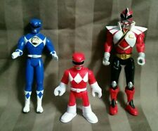 Lot of 3 Power Rangers Action Figures Super Samurai  red, blue,