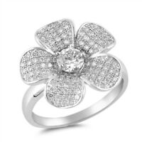 Sterling Silver 925 HAWAIIAN PLUMERIA FLOWER MICRO PAVE CLEAR CZ RING SIZES 5-9