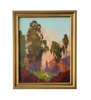 James Slay Listed California Eucalyptus Sunset Landscape Oil Painting Signed