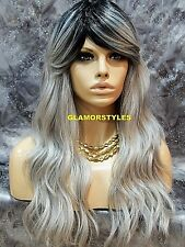 Human Hair Blend Full Wig Layered Ombre Off Black Gray Mix Heat Ok Hair Piece