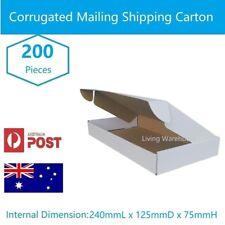 200 x Diecut 240x125x75mm Shipping Cardboard Carton Die Cut White Mailing Box