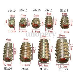 M4 M5 M6 M8 M10 HEX DRIVE SCREW IN THREADED INSERT BUSHING FOR WOOD ZINC TYPE E