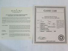 Danbury Mint Paperwork 1935 Chevy Standard Sports Roadster