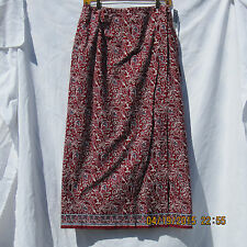 Charter Club Skirt size 8 below knee red blue white rose floral wrap new w/tags