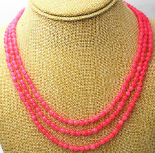 """Fashion jewelry 17-19 """"3 rows 4 mm peach pink jade bead necklace"""