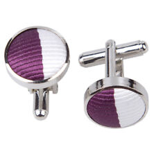 DQT Brass Fabric Inlay Cuff Links Striped Purple & White Mens Cufflinks