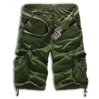 Men's Combat Cargo Military Army Camo Solid Work Tactical Shorts Pants Trousers